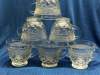 Anchor Hocking Wexford Punch, Coffee, Tea Beverage Cups set of 6 Vintage USA