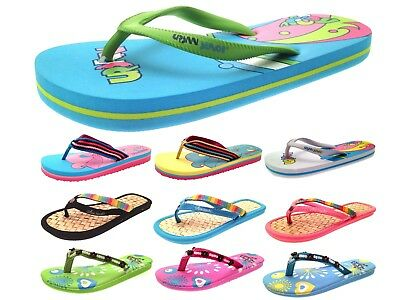 Womens Girls Urban Beach Sandals Flip Flops Toe Posts Kids Toe Post Summer Shoes