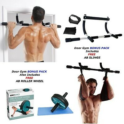 Gym Fitness Exercise Workout Bar Chin Pull Up Dips Door Ab Slings Free Ab Roller