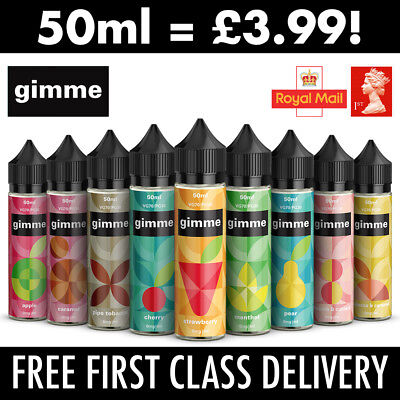 50ml Premium E-Liquid High VG Vape Juice | Gimme 0mg/3mg Short Fill Cheap 99p