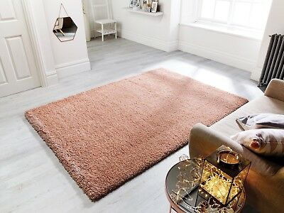 Coral Pink Thick Non Shed Shaggy Rugs Soft Rose Cosy Fluffy Rug For Living Room