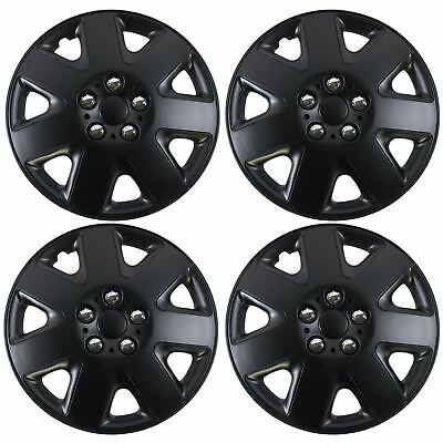 "Simple 15"" Set x 4 Black Multi-Spoke Wheel Trims Hub Caps Covers Protectors"