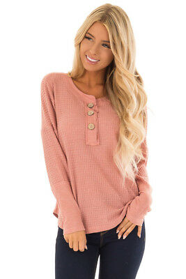 d140f353b20 New Lime Lush Boutique Fantastic Fawn Waffle Blush Pink Wood Button Henley  Top S