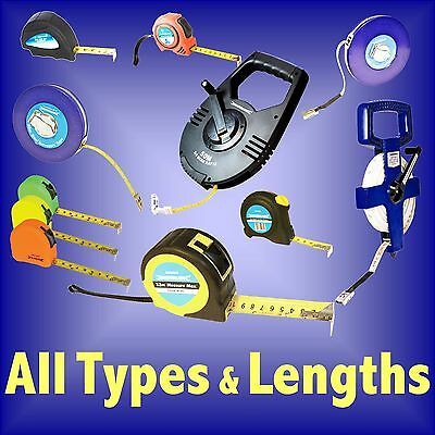 Tape Measures All Types and Lengths surveyors steel lock max fibreglass open