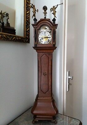 Warmink Miniature Longcase Mantel Clock burr walnut,  Moonphase, Bells, H 74 cm