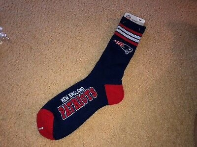 New England Patriots 4 Stripe Nfl Crew Socks New Large Nfl Licensed Well Made