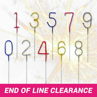 ✨ Number Sparklers Birthday Cake Topper Sparkling Decoration 4 Colours CLEARANCE