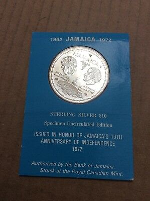 1972 Jamaican Independence Sterling Silver $10 Coin