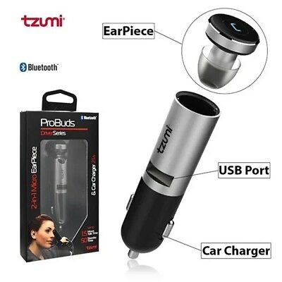TZUMI 2IN1 PROBUDS Bluetooth Wireless Headset & 2 1A USB Port Car Charger