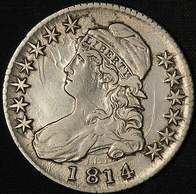1814 Capped Bust Half Dollar O-103 Nice Clashed Die - Free Shipping USA