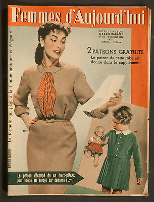 'femmes D'auourd'hui' French Vintage Magazine Dress Pattern 30 January 1954