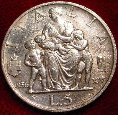 **scarce**1936 Silver 5 Lire Kingdom Of Italy**nice Detailed Coin**