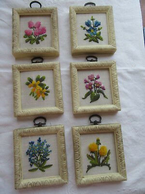 Handcrafted crewel embroidered framed floral mini pics set of 6