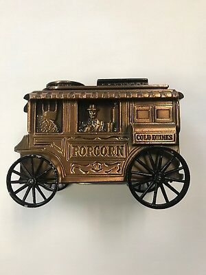 VINTAGE Banthrico Coin Bank Vintage Popcorn Concession Cart Wagon 1974 Great A+