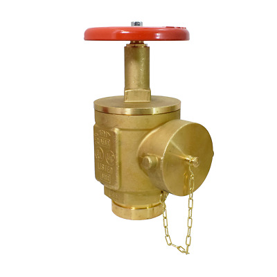 """2-1/2"""" Grooved Angle Fire Hose Valve w/ Cap & Chain - UL/FM - Rough Brass"""