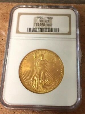 1924 St. Gaudens Double Eagle $20 Gold Coin - NGC MS-63