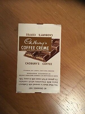 Cadbury's Advertising Coffee Creme Chocolate Export Wrapper 1970s