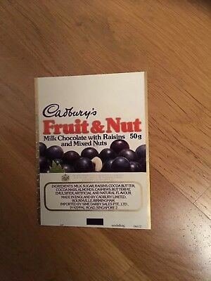 Cadbury's Advertising Fruit & Nut Chocolate Singapore Export Wrapper 1981