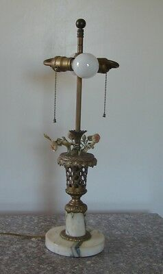 Beautiful Antique French Bronze & Marble Lamp With Basket Of Painted Flowers