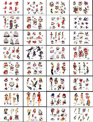 Sailor Jerry Swallow Traditional Vintage Style Tattoo Flash 92 Sheets 11x17""