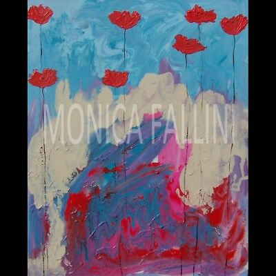 Red Poppies painting palette knife impasto 17 x 22 inches by Monica Fallini