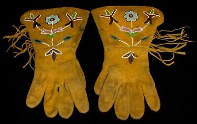 Fine Pair of Early 1900 Native American Fringed Beaded Gauntlet Gloves - Vintage