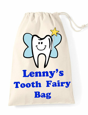 Personalised First Tooth Fairy Bag Childrens Mini Drawstring Cotton Bag Boy Girl