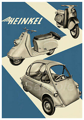Vintage Heinkel Tourist Scooter And Bubble Car Advertising A4 Poster Print