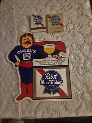 Pabst Blue Ribbon Cool Blue Decal 1970's & 2 Unstruck Pabst Blue Ribbon Matches