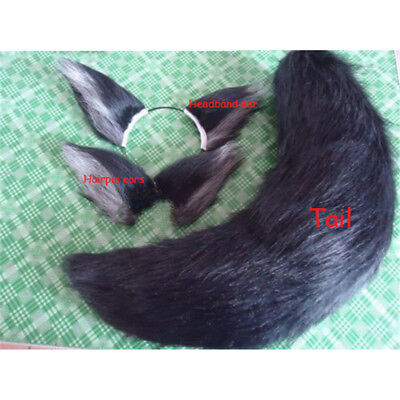 Anime Cosplay Stage props Black Fox Fluffy Plush Ears Tail Fancy Costume