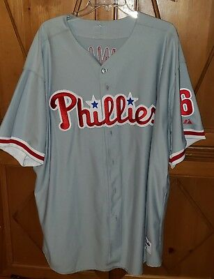 Majestic Ryan Howard Philadelphia Phillies 6 Gray Genuine MLB Jersey Mens 4XL