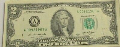 Two Dollar Bill ($2) from BEP Pack-Birthdate 9/2/1966 up to various years