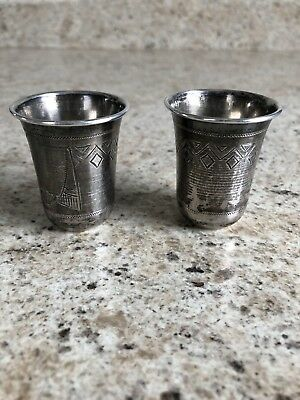 Two Vintage Sterling Silver Shot Glasses Etched Design, Russian Hall Mark