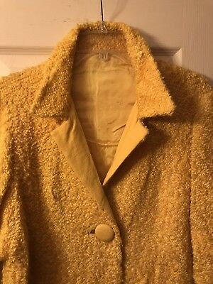 """Vintage 60s """"Betty Mancini New York"""" Coat Bright Yellow With Covered Buttons L"""