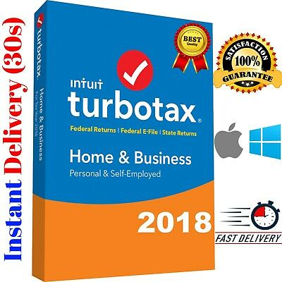 TurboTax Home and Business 2018 Federal WINDOWS / MAC + State📥Instant Delivery