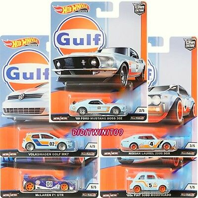 Hot Wheels 2019 Car Culture Gulf Racing Complete Set Of 5 Vw Mustang