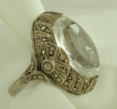Vintage Sterling Silver 925 Art Deco Marcasite & White Sapphire Ring Size 5