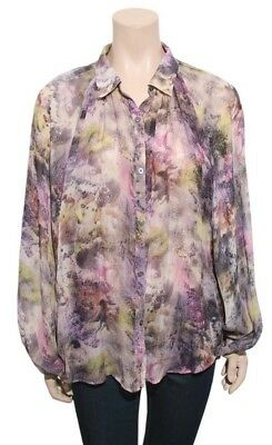a0a49f408a490 ELIZABETH AND JAMES Printed Silk Blouse (SIZE M)