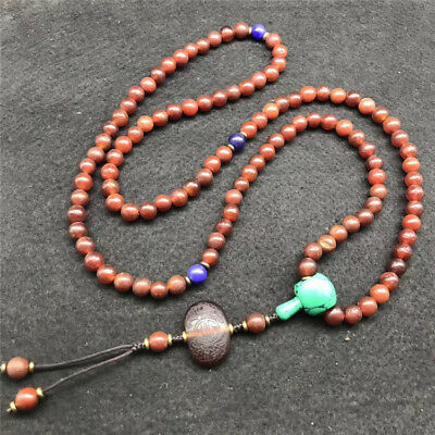 China old antique Natural red agate 108 Beads Necklace Pendant