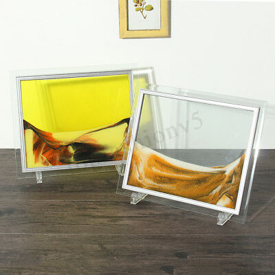 6 Colors Framed Moving Sand Time Glass Picture Home Office Desk Decor Craft