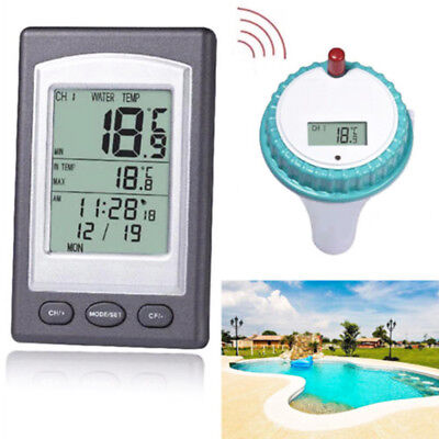 1 Set Wireless Remote Floating Thermometer Swimming Pool Waterproof Pond Spa LED