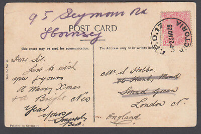 Victoria TPO - 1909 Postcard cancelled TPO17-Up2 (rated RR) to England