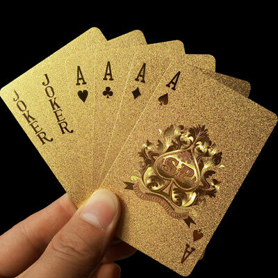 54 Playing Cards Vintage Waterproof 24k Gold Foil Plated Cover Poker Games mh62
