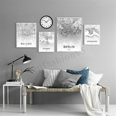 World City Map Abstract Poster Nordic Art Prints Canvas Painting Home Wall