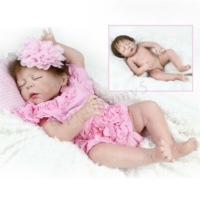 55cm Silicone Handmade Sleeping Toddler Reborn Girl Body Dolls Newborn Baby