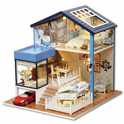 Seattle Cottage Dollhouse Miniature DIY Kit Dolls House With Furniture Gift