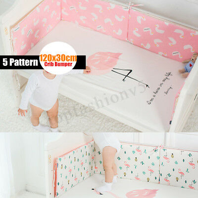 Infant Toddler Baby Crib Bumper Bed Protector Cotton Cushion Pad