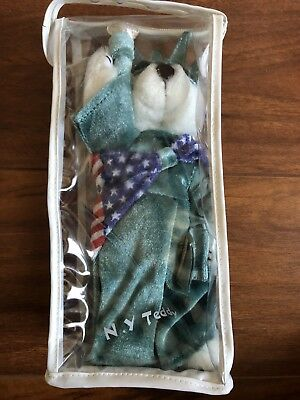 "N.Y. Teddy Bear Statue Of Liberty 9"" White Velvet Dress Crown Torch Flag Shawl"