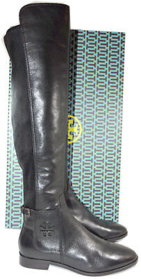 b85606da751 Tory Burch WYATT Leather Riding Boot Flat Equestrian Booties 5.5 Over The  Knee