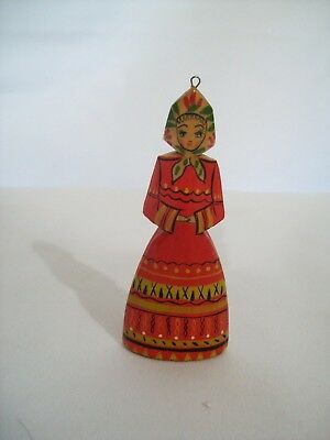 Vintage Hand Carved and Painted Wood Folk-Art Lady Ornament